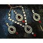 Red Metal Base Metal Traditional Jewellery Set