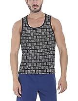 Zobello Men's Allover Printed Summer Tank(21145G_Black Basket Weave Print_XX-Large)