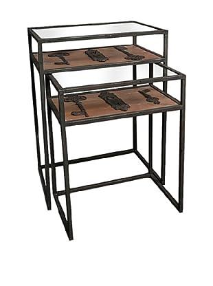 Winward Set of 2 Maverick Iron Accent Tables with Keys, Black