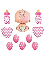 Its A Baby Girl Annoucement Shower Polka Dot Decorations Balloons 10pc Kit