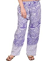 Exotic India Casual Trousers from Pilkhuwa with Printed Palm Trees - Color Aster PurpleGarment Size Free Size