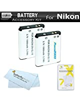 2 Pack Battery Kit For Nikon Coolpix S3500 S6400 S3100 S4100 S100 S4300 S3300 S5200 S6500 S3200 S4200 Digital Camera Includes 2 Replacement Extended (1000Mah) EN-EL19 Batteries + LCD Screen Protectors + MicroFiber Cleaning Cloth