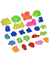 Sand Molding Toy Activity Set. 24 Piece Small Kids Sand Deluxe Sculpture Lot. Compatible with Kineti