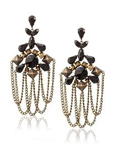 Joanna Laura Constantine Black & Gold Chandelier Earrings