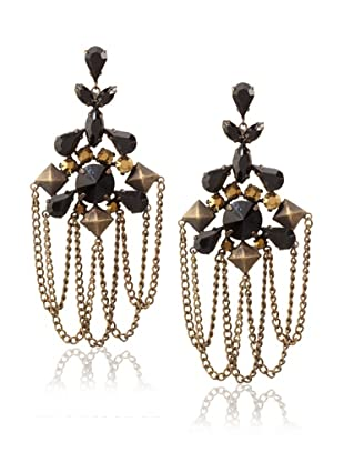Joanna Laura Constantine Black and Gold Chandelier Earrings