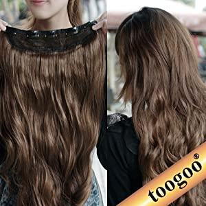 TOOGOO(R) Gorgeous Long Curly Clip-on Hair Extension Wigs - Dark Brown