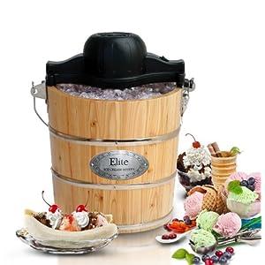Elite Gourmet EIM-502 Maxi-Matic 4 Quart Old Fashioned Pine Bucket Electric/Manual Ice Cream Maker