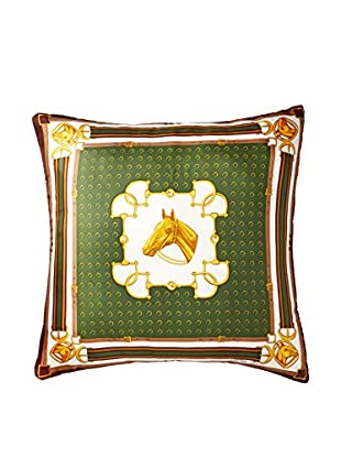 Celine Equestrian Scarf Pillow, Khaki Green