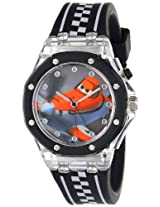 Disney Kids' PLA1439 Planes Fire & Rescue Flashing-Dial Watch with Black and White Rubber Band
