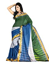 Paaneri Mehndi Color with Nevy Half and Half and Silver Border Blended Cotton Saree_15103503205