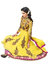 Anvi Creations Yellow Net and Cottton Silk Anarkali Dress Material (Yellow _Free Size)