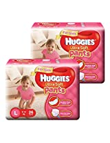 Huggies Ultra Soft Pants Large Size Premium Diapers for Girls (2 x 26 Counts)