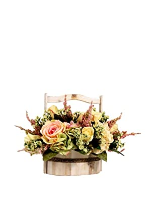 Creative Displays Pink & Yellow Rose with Hydrangea in Wooden Basket
