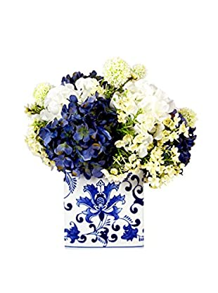 Creative Displays Inc. Mixed Hydrangea and Allium Arrangement, White/Blue