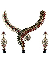 Vivanta Multi-Coloured Gold Plated Necklace And Earrings Set For Women (VD-N130)