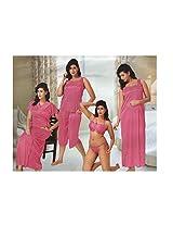 Indiatrendzs Women's Sexy Hot Nighty Pink 6pc Set Honeymoon Nightwear Freesize