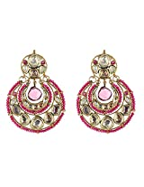 Be You Elegant White Colour Kundan Meena Work Rhodium Plated Brass Chandelier Earring for Women