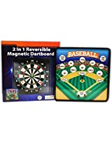 2 In 1 Reversible Magnetic Dartboard (Dart Board) With Standard Darts & Baseball Games