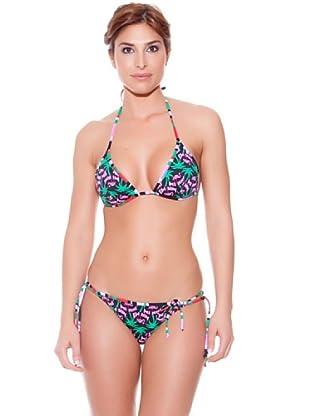 Teleno Bikini Triángulo Reversible Y Braguita De Atar (Negro)