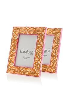"Shiraleah Set of (2) 5"" x 7"" Painted Bone Picture Frames (Orange)"