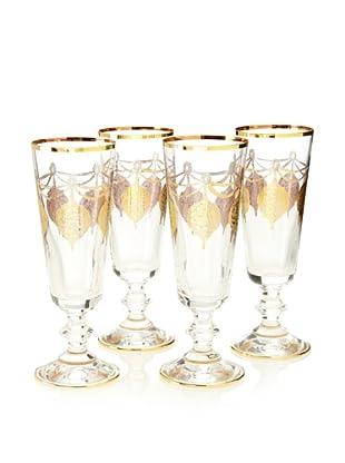 A Casa K Set of 4 Marrekesh Décor Crystal 5-Oz. Champagne Flutes, Clear/Gold