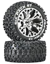 Duratrax Sixpack ST 2.8 Truck 2WD Mounted 1/2 Offset C2 Wheels (2-Piece), Chrome