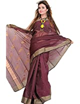Exotic India Windsor-Wine Handloom Chanderi Saree With Woven Peacocks on A - Red
