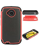 DMG Hybrid Dual Layer Armor Defender Protective Case Cover for Motorola Moto E 2nd Gen (Red)
