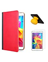 VanGoddy Mary Portfolio Multi Purpose Book Style Slim Flip Cover Case for Samsung Galaxy Tab4 T330/T331 8.0 (Red) + Bluetooth Suction Stand Speakers + Matte Screen