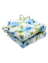 Pillow Perfect Pic-A-Poppy Reversible Chair Pad, Blue, Set of 2