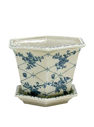 Winward Pot Cache Rose Trellis, Blue/White