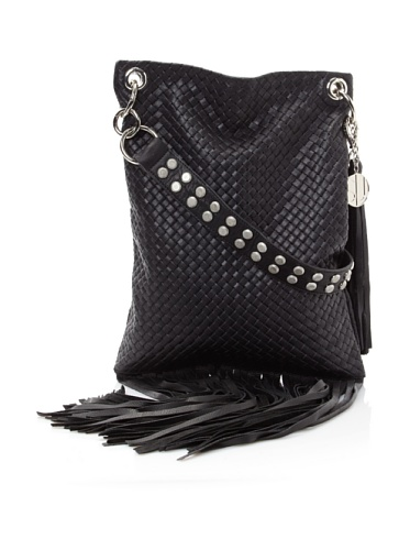 Stella & Jamie Women's Boha Woven Fringe Bag (Black)