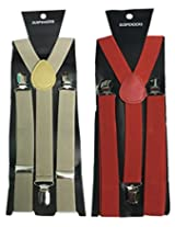 Atyourdoor Y- Back Suspenders for Men(BrownRedsus2)