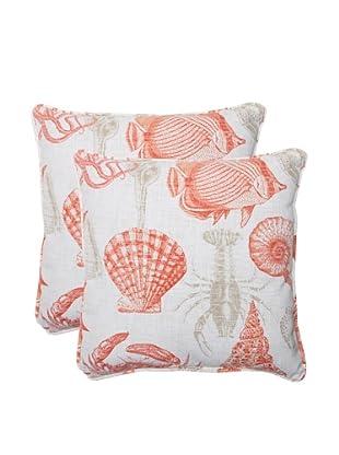 Pillow Perfect Set of 2 Outdoor Sea Life Coral Throw Pillows, Orange/Tan
