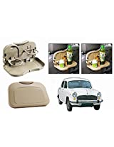 Speedwav Foldable Car Dining Meal Drink Tray BEIGE SET OF 2-HM Ambassador MPFi