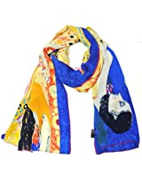 Wrapables Luxurious 100% Charmeuse Silk Long Scarf with Hand Rolled Edges, Gustav Klimt's Hope II