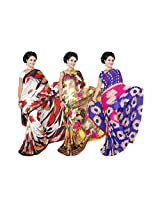 Weightless georgette Printed Sarees with blouse exclusive Combo pack From Garg Fashion combo-179