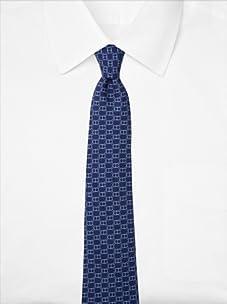Hermès Men's Chain Link Tie, Blue, One Size