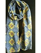 Blue Cotton Block print Stole