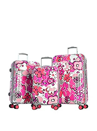 Olympia USA Blossom II 3-Piece Hardside Luggage Set, Fuchsia