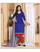 Butta Blue Chanderi Cotton Silk Salwar Kameez