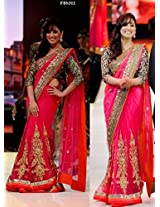 Bollywood Replica Yami Gautam Net Saree In Red And Pink Colour Nc699