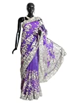 Dollsofindia Net Saree With Blouse Piece (Hp19 -Mauve)