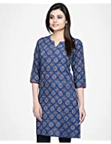 Cotton Ajrak Applique Mini Kurta-S-Blue
