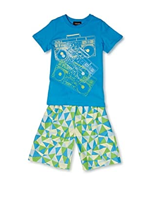 Sovereign Sleepwear Pijama Stereo Triangles (Turquesa)