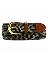 Luxury Divas Black & Beige Braided Elastic Stretch Leather Tipped Belt X-Large AD