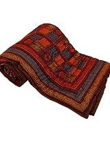 Little India Sanganeri Hand Block Print Cotton Double Bed Quilt - Multicolor  (DLI3DRZ301)