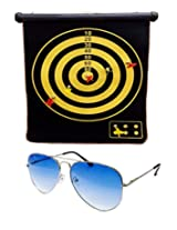 Hrinkar Foldable Magnetic Dart Board For Indoor Entertainment With 4 Darts Size 380 X 320 mm + Free Sunglasses - MAD62