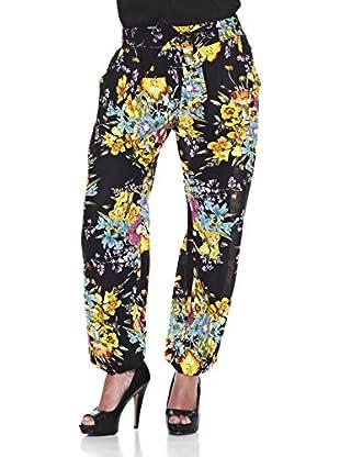Peace & Love Pantalón Estampado Floral (Negro)