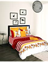 Tangerine Scarlet Sunset Cotton Double Comforter - King Size, White and Maroon